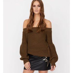 Haute Rogue Black Tricia Off Shoulder Sweater